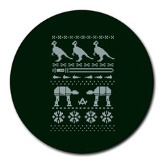Holiday Party Attire Ugly Christmas Green Background Round Mousepads