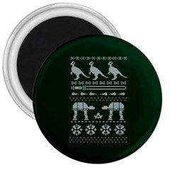 Holiday Party Attire Ugly Christmas Green Background 3  Magnets