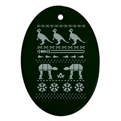 Holiday Party Attire Ugly Christmas Green Background Ornament (Oval)