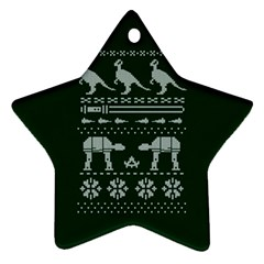 Holiday Party Attire Ugly Christmas Green Background Ornament (Star)