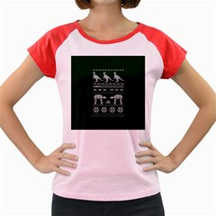 Holiday Party Attire Ugly Christmas Green Background Women s Cap Sleeve T-Shirt