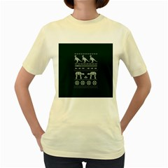Holiday Party Attire Ugly Christmas Green Background Women s Yellow T Shirt