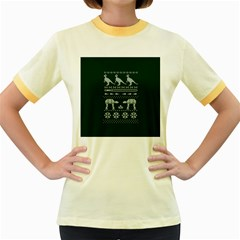Holiday Party Attire Ugly Christmas Green Background Women s Fitted Ringer T-Shirts
