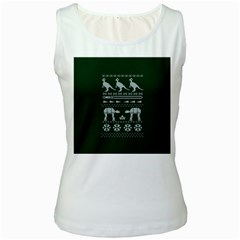 Holiday Party Attire Ugly Christmas Green Background Women s White Tank Top