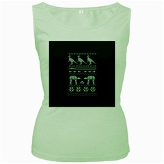 Holiday Party Attire Ugly Christmas Green Background Women s Green Tank Top