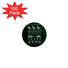 Holiday Party Attire Ugly Christmas Green Background 1  Mini Magnets (100 Pack)