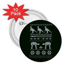 Holiday Party Attire Ugly Christmas Green Background 2.25  Buttons (10 pack)