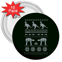 Holiday Party Attire Ugly Christmas Green Background 3  Buttons (10 pack)