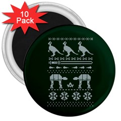 Holiday Party Attire Ugly Christmas Green Background 3  Magnets (10 pack)