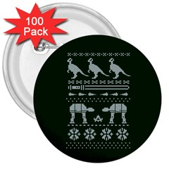 Holiday Party Attire Ugly Christmas Green Background 3  Buttons (100 pack)