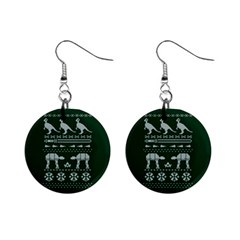 Holiday Party Attire Ugly Christmas Green Background Mini Button Earrings