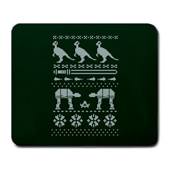 Holiday Party Attire Ugly Christmas Green Background Large Mousepads