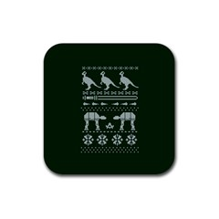 Holiday Party Attire Ugly Christmas Green Background Rubber Square Coaster (4 pack)