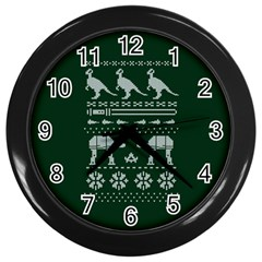 Holiday Party Attire Ugly Christmas Green Background Wall Clocks (Black)