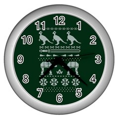 Holiday Party Attire Ugly Christmas Green Background Wall Clocks (Silver)