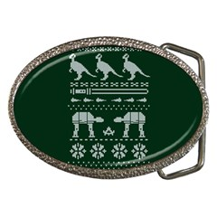 Holiday Party Attire Ugly Christmas Green Background Belt Buckles