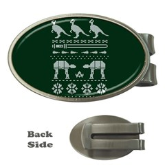 Holiday Party Attire Ugly Christmas Green Background Money Clips (Oval)