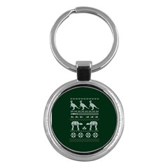 Holiday Party Attire Ugly Christmas Green Background Key Chains (round)