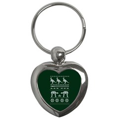 Holiday Party Attire Ugly Christmas Green Background Key Chains (Heart)