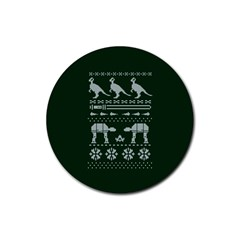 Holiday Party Attire Ugly Christmas Green Background Rubber Round Coaster (4 pack)