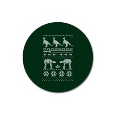 Holiday Party Attire Ugly Christmas Green Background Magnet 3  (round)