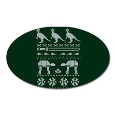 Holiday Party Attire Ugly Christmas Green Background Oval Magnet