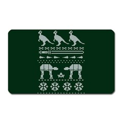 Holiday Party Attire Ugly Christmas Green Background Magnet (Rectangular)