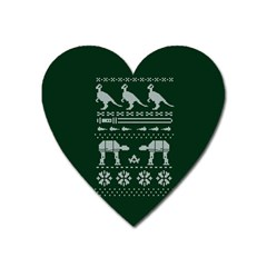 Holiday Party Attire Ugly Christmas Green Background Heart Magnet