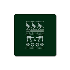 Holiday Party Attire Ugly Christmas Green Background Square Magnet
