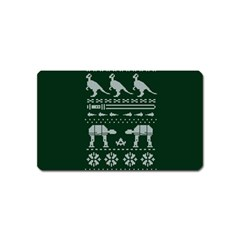 Holiday Party Attire Ugly Christmas Green Background Magnet (Name Card)