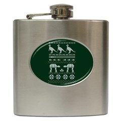 Holiday Party Attire Ugly Christmas Green Background Hip Flask (6 oz)