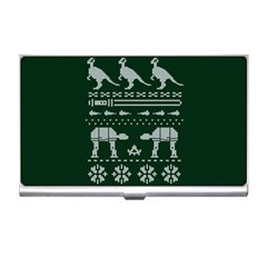 Holiday Party Attire Ugly Christmas Green Background Business Card Holders