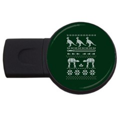 Holiday Party Attire Ugly Christmas Green Background USB Flash Drive Round (1 GB)