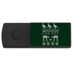 Holiday Party Attire Ugly Christmas Green Background USB Flash Drive Rectangular (1 GB)