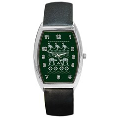 Holiday Party Attire Ugly Christmas Green Background Barrel Style Metal Watch