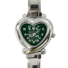 Holiday Party Attire Ugly Christmas Green Background Heart Italian Charm Watch