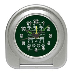 Holiday Party Attire Ugly Christmas Green Background Travel Alarm Clocks