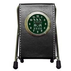 Holiday Party Attire Ugly Christmas Green Background Pen Holder Desk Clocks