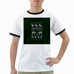 Holiday Party Attire Ugly Christmas Green Background Ringer T-Shirts