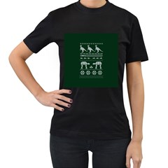 Holiday Party Attire Ugly Christmas Green Background Women s T-Shirt (Black) (Two Sided)