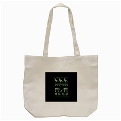 Holiday Party Attire Ugly Christmas Green Background Tote Bag (Cream)