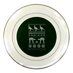 Holiday Party Attire Ugly Christmas Green Background Porcelain Plates