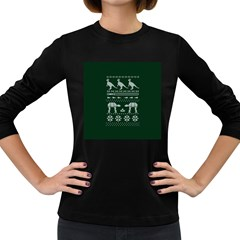 Holiday Party Attire Ugly Christmas Green Background Women s Long Sleeve Dark T-Shirts