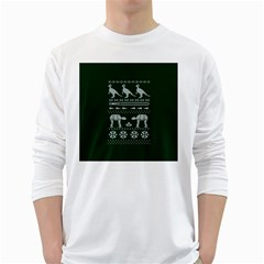 Holiday Party Attire Ugly Christmas Green Background White Long Sleeve T-Shirts