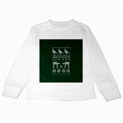 Holiday Party Attire Ugly Christmas Green Background Kids Long Sleeve T-Shirts