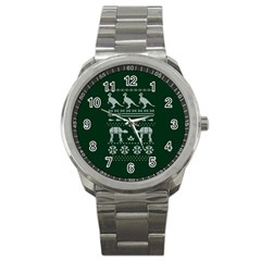 Holiday Party Attire Ugly Christmas Green Background Sport Metal Watch