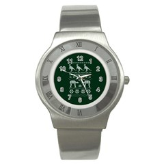 Holiday Party Attire Ugly Christmas Green Background Stainless Steel Watch