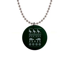 Holiday Party Attire Ugly Christmas Green Background Button Necklaces