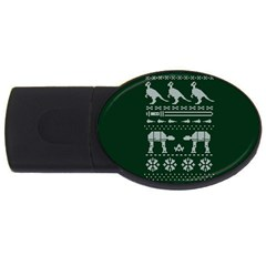 Holiday Party Attire Ugly Christmas Green Background USB Flash Drive Oval (4 GB)