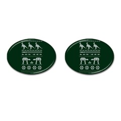 Holiday Party Attire Ugly Christmas Green Background Cufflinks (Oval)